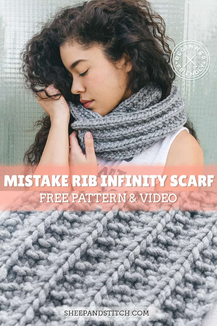 Knitted Scarf Patterns Pinterest How To Knit An Infinity Scarf Pattern For Beginners Sheep And Stitch