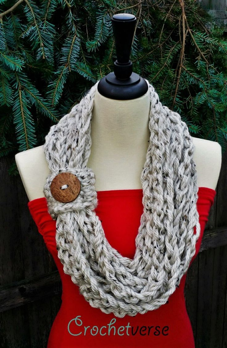 Knitted Scarf Patterns Pinterest How To Make Crochet Infinity Scarf Pattern Crochet And Knitting