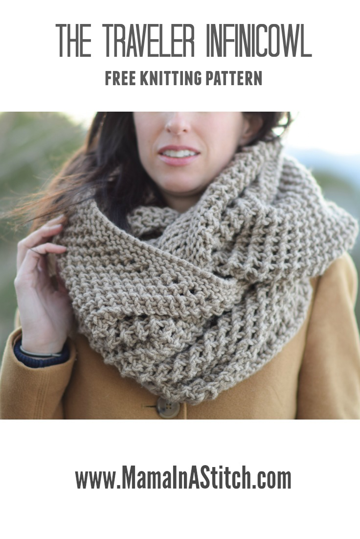 Knitted Scarf Patterns Pinterest The Traveler Knit Infinicowl Scarf Pattern Mama In A Stitch