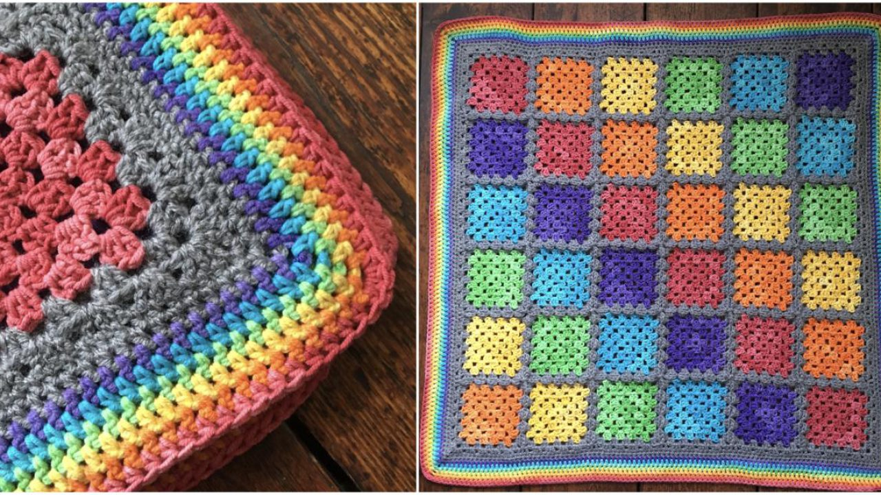 Knitted Squares Patterns Free Rainbow Granny Squares Free Crochet Pattern Styles Idea