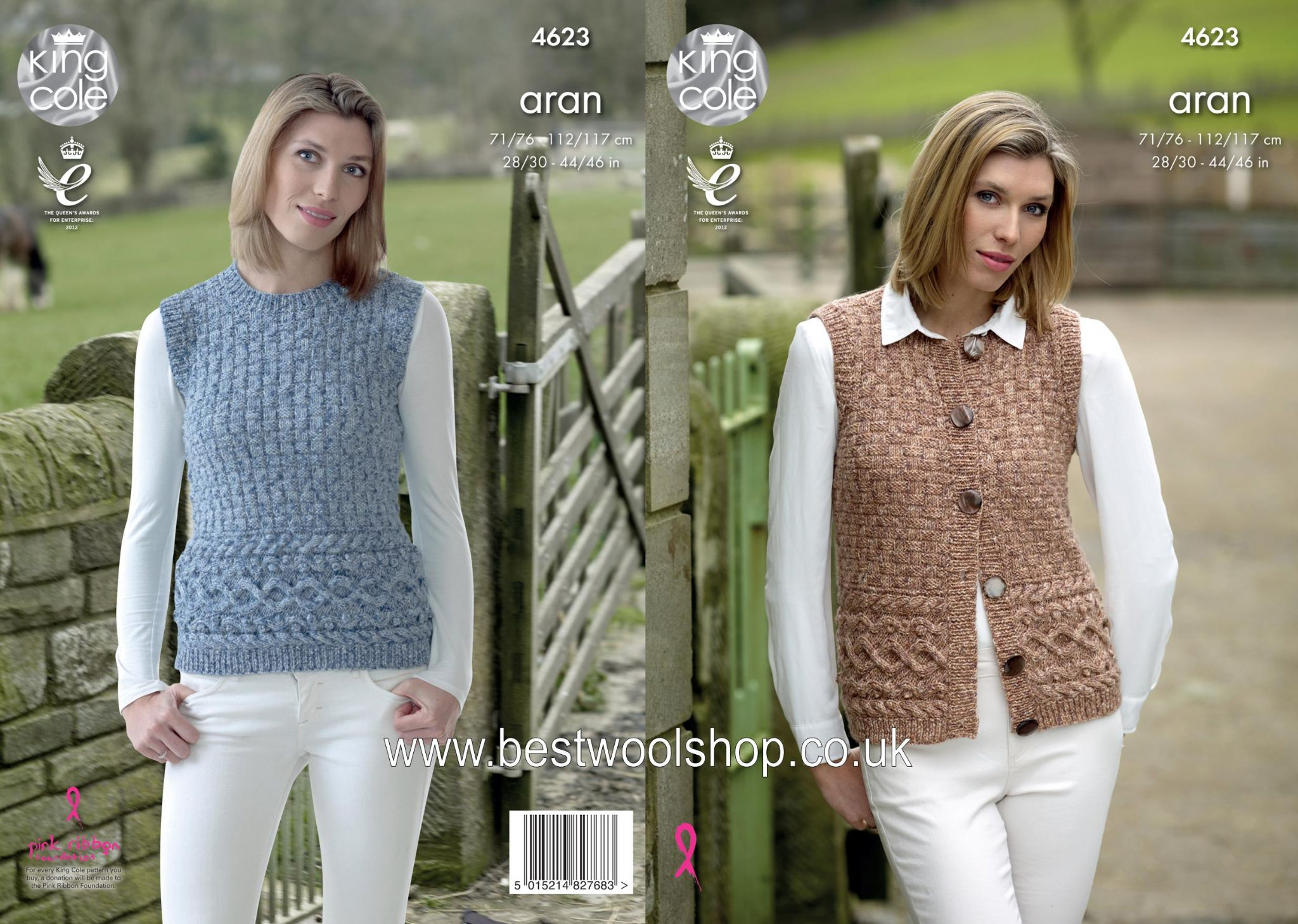 Knitted Tank Top Patterns 4623 King Cole Fashion Aran Combo Waistcoat Tank Top Sleeveless Sweater Knitting Pattern To Fit Chest 28 To 46
