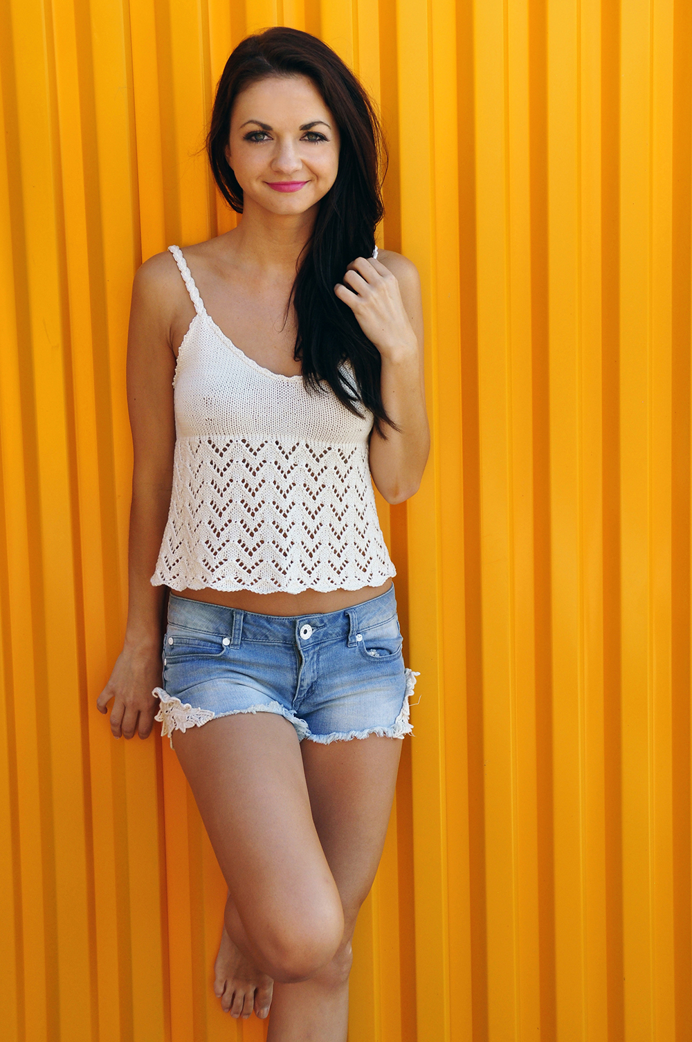 Knitted Tank Top Patterns Bow Crazy Chevron Lace Knitted Tank Top With Open Back And Bow