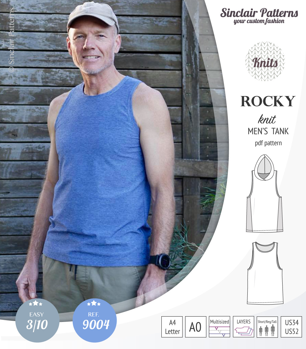 Knitted Tank Top Patterns Rocky Semi Fitted Knit Tank With Optional Panels And A Hood For Men Pdf