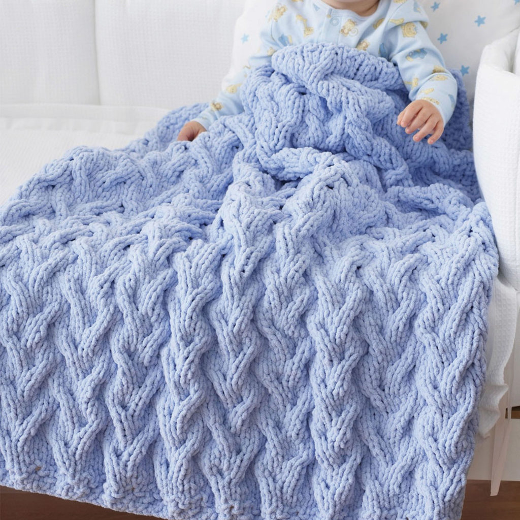 Knitting Afghan Patterns Free Lovely Cabled Ba Blanket Free Knitting Pattern