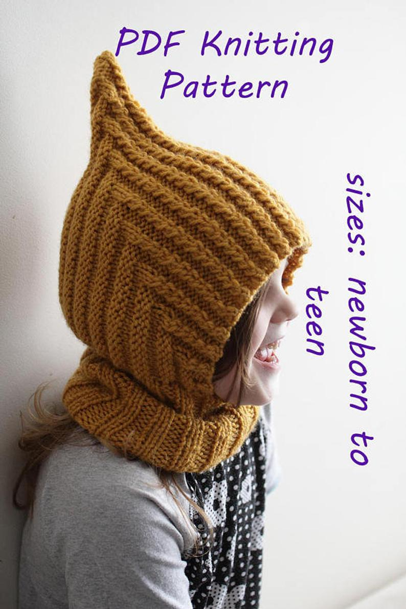 Knitting Pattern Balaclava Downloadable Pdf Pattern Balaclava Pixie Elf Hat Hooded Scarf Knitting Pattern For Aran Newborn To Teen Knit Hat Tutorial Child Balaclava