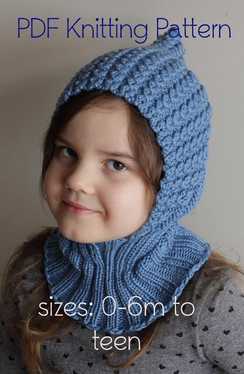 Knitting Pattern Balaclava Downloadable Pdf Pattern Balaclava Pixie Elf Hat Hooded Scarf Knitting Pattern For Dk Newborn To Teen Knit Hat Tutorial Child Balaclava