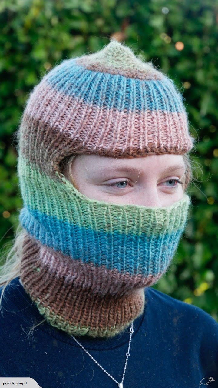 Knitting Pattern Balaclava Hand Knitted Gorgeous Stripe Balaclava New Unworn In Mint Condition