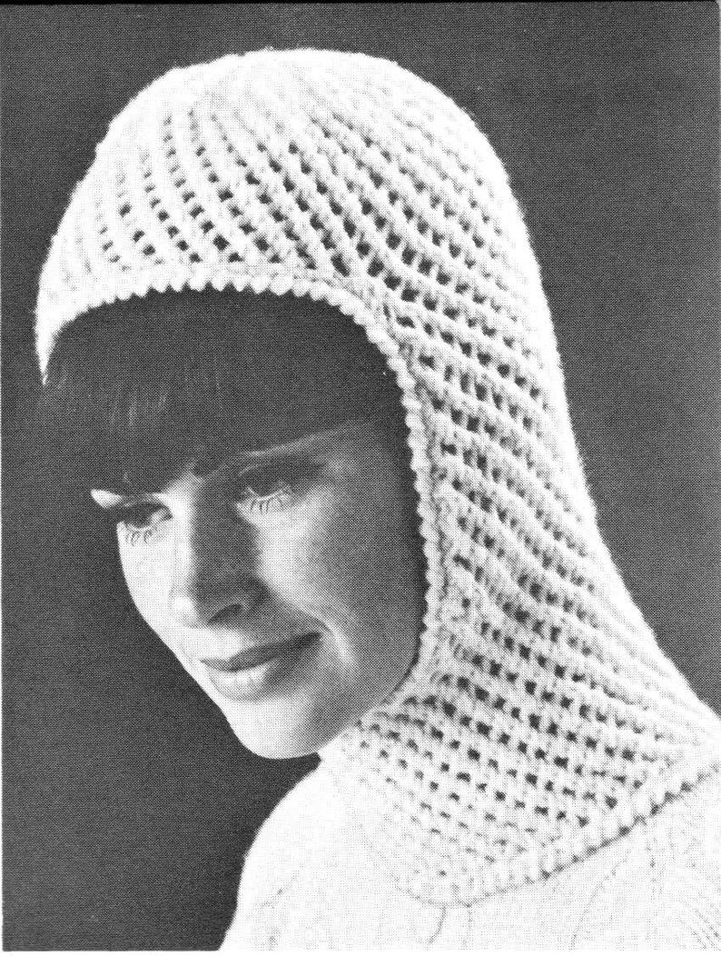 Knitting Pattern Balaclava Vintage Knitting Pattern Ladies Womens Winter Hat Balaclava Helmet Mask Eyelet Lace Hood Printable Pdf Download 1960