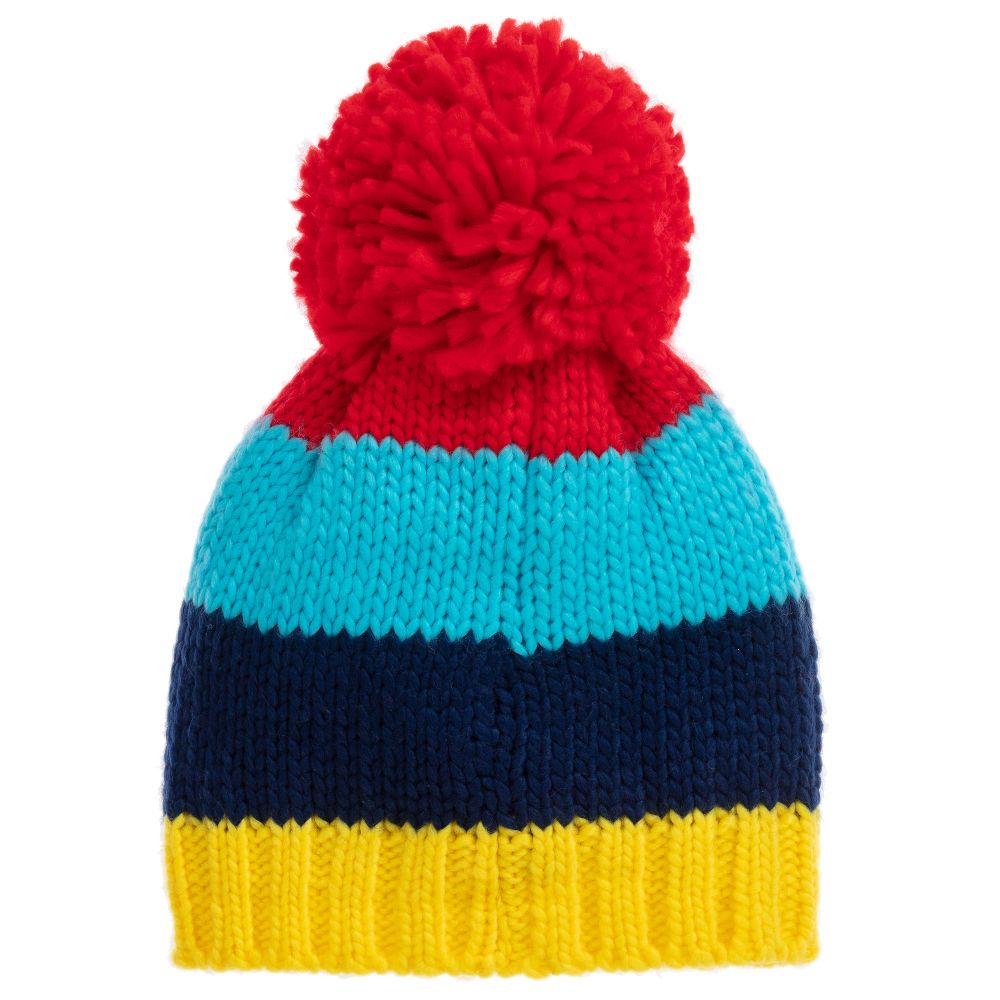 Knitting Pattern Bobble Hat Blue Red Striped Bobble Hat