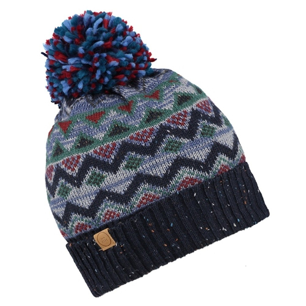 Knitting Pattern Bobble Hat Cooper Fair Isle Knitted Pattern Wool Blend Bobble Hat Brown Or Blue