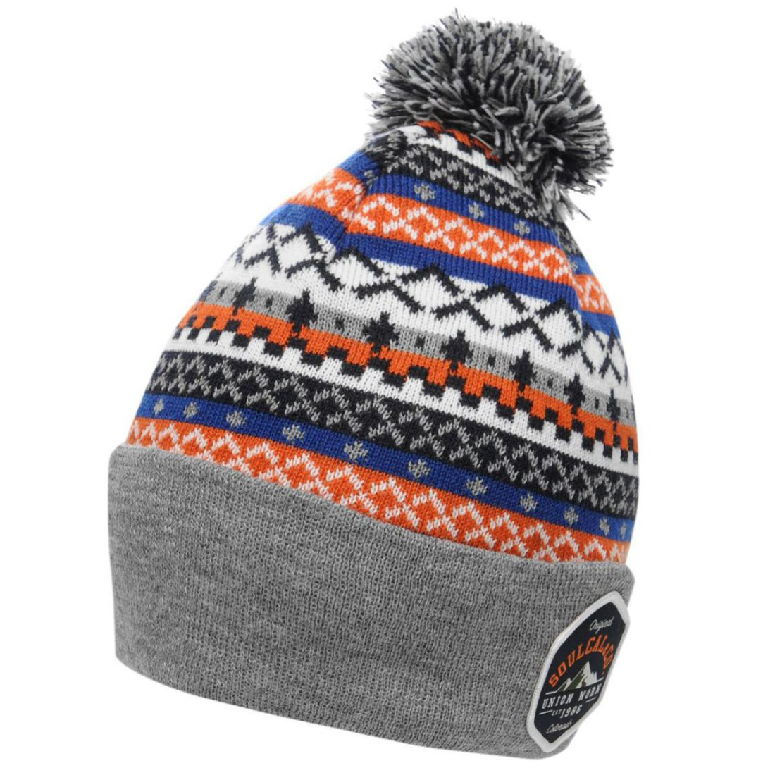 Knitting Pattern Bobble Hat Details About Soulcal Mens Aztec Bobble Hat Beanie Pattern Warm Print Knitted
