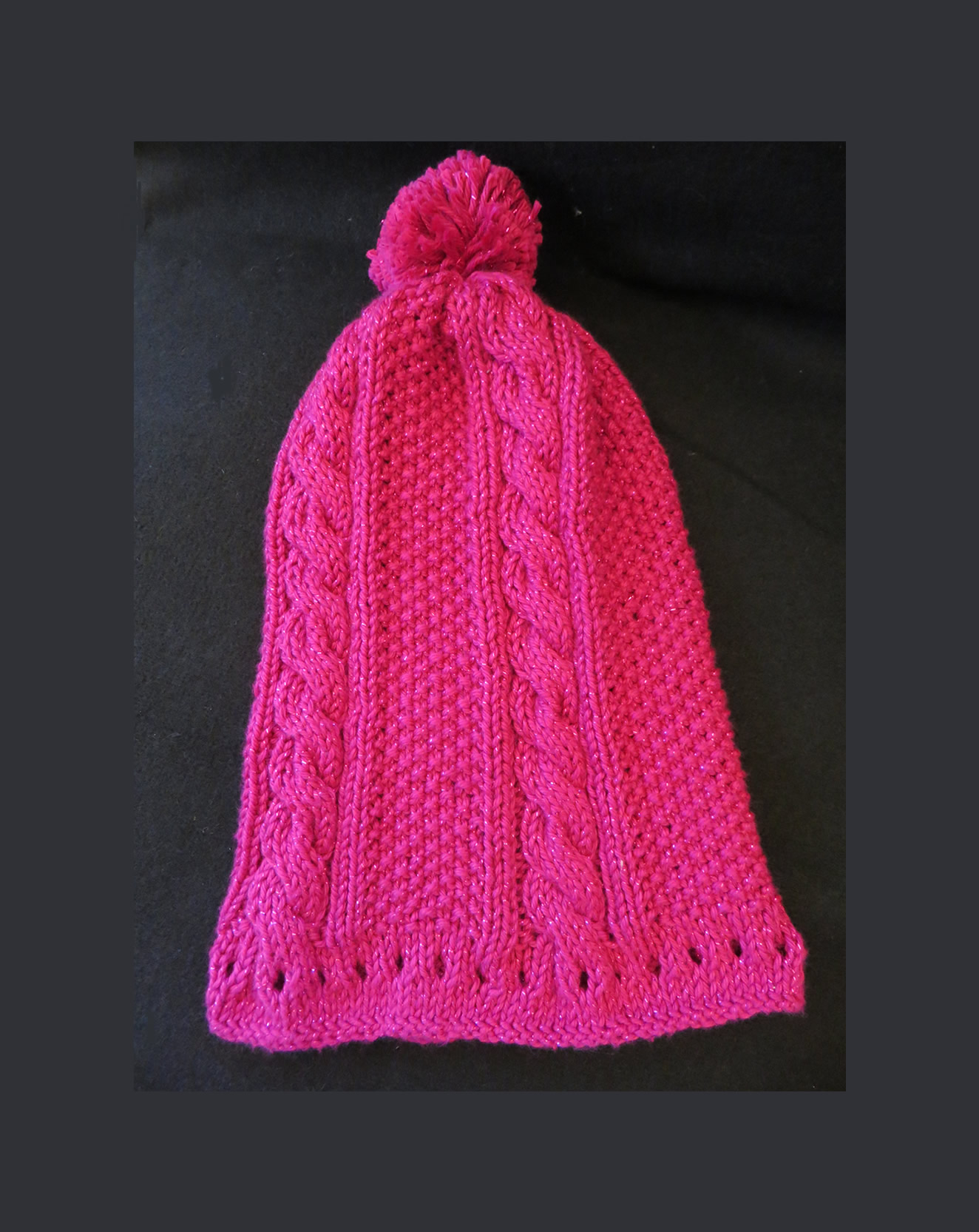 Knitting Pattern Bobble Hat Hand Knitted Pink Sparkle Bobble Hat