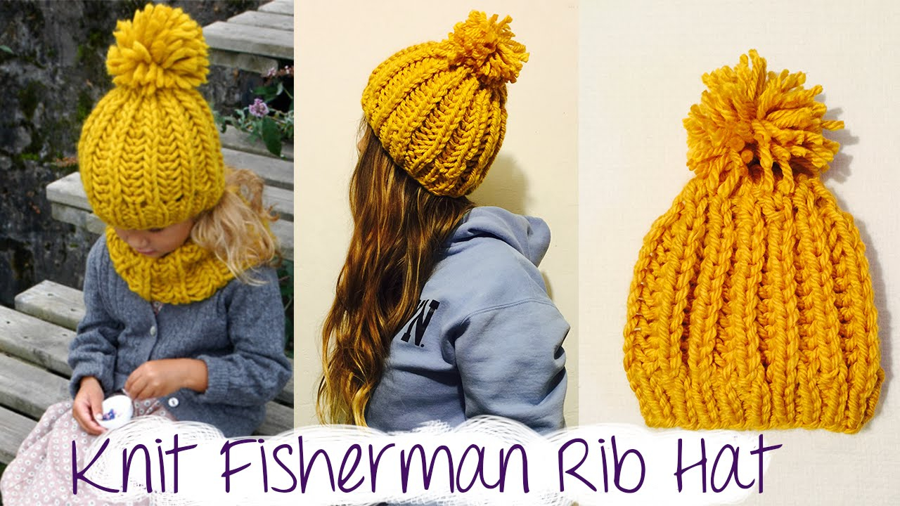 Knitting Pattern Bobble Hat How To Knit Fast And Easy Chunky Ribbed Hat