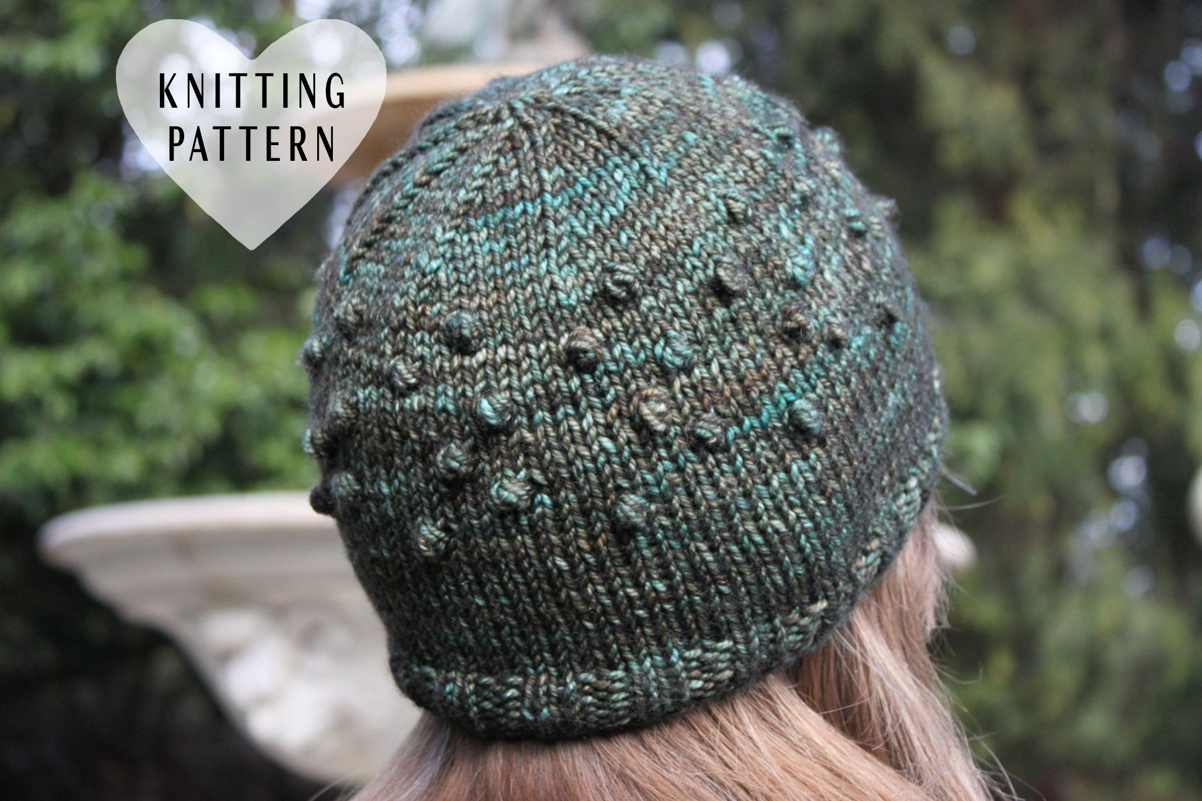 Knitting Pattern Bobble Hat Knitting Pattern Bobble Hat Knit Knitted Adult Size Green Hat Beanie Fleece Lined Madelinetosh