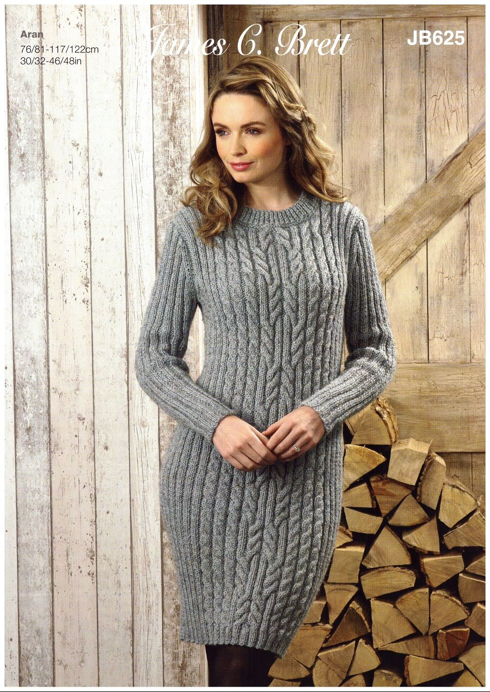Knitting Pattern Dress James C Brett Ladies Sweater And Dress Knitting Pattern In Rustic Aran Jb625