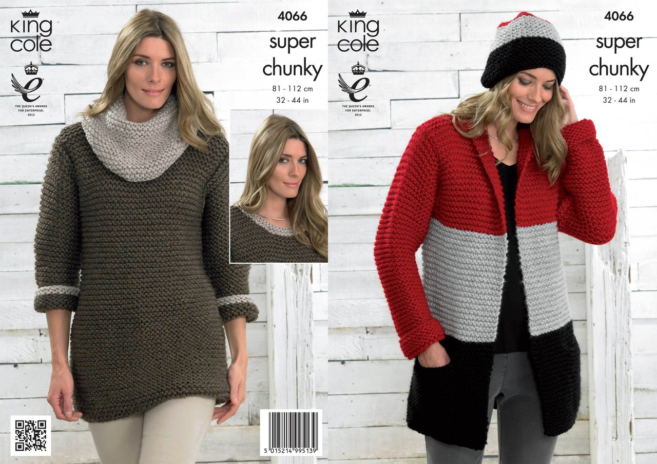 Knitting Pattern Dress King Cole 4066 Knitting Pattern Jacket Hat Sweater Dress And Cowl In Big Value Super Chunky