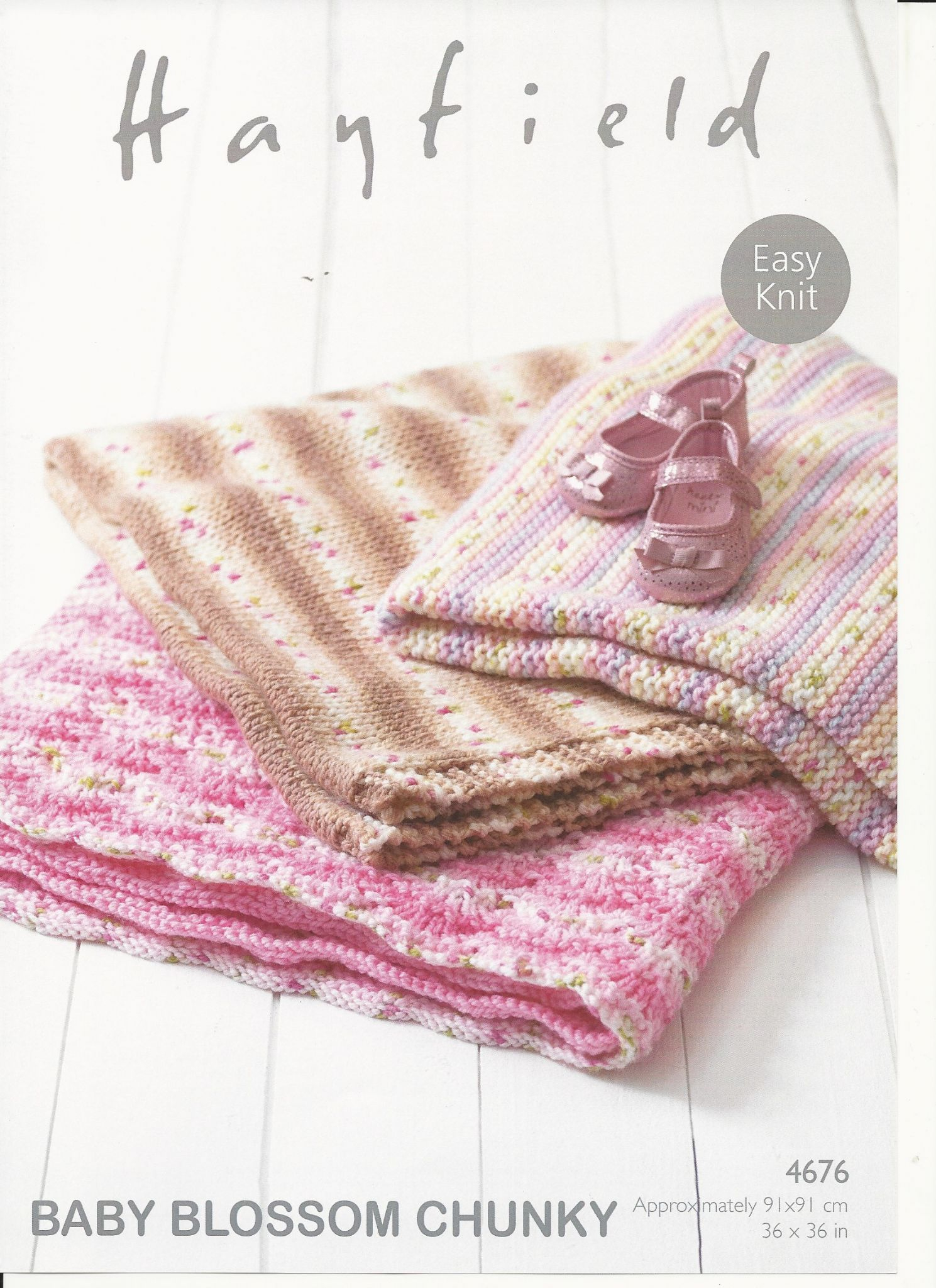 Knitting Pattern For Baby Blankets Hayfield Babies Blankets Knitting Pattern In Ba Blossom Chunky 4676