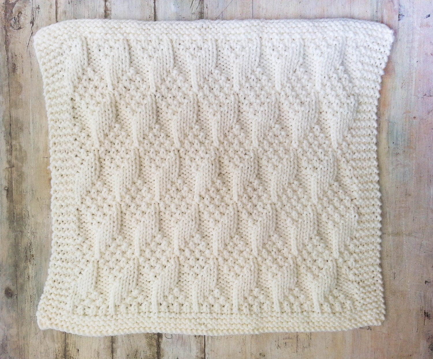 Knitting Pattern For Baby Blankets Knitting Pattern Ba Blanket Bulky Yarn Modern Ba Blanket Chunky Yarn Easy Knitting Pattern Blocks Pattern Ba Afghan