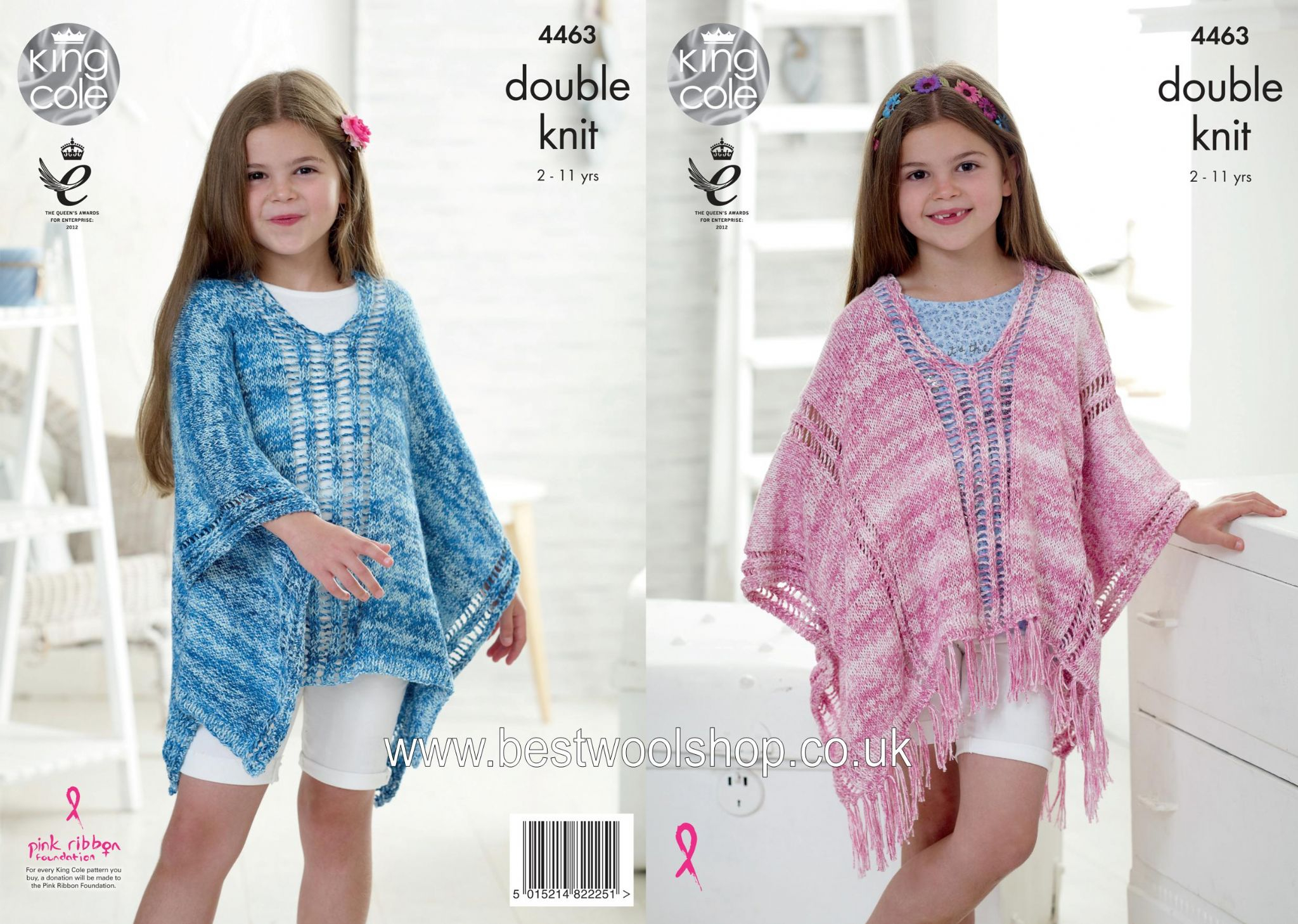 Knitting Pattern For Childs Poncho 4463 King Cole Vogue Dk Girls Poncho Knitting Pattern To Fit Age 2 To 11 Years