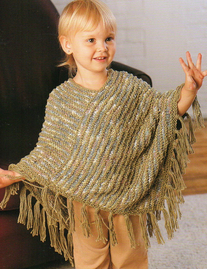 Knitting Pattern For Childs Poncho Childs Poncho Cape Knitting Pattern Infant Toddler Poncho Cape Knitting Patterns Sizes 2 8 Years Pdf Instant Download