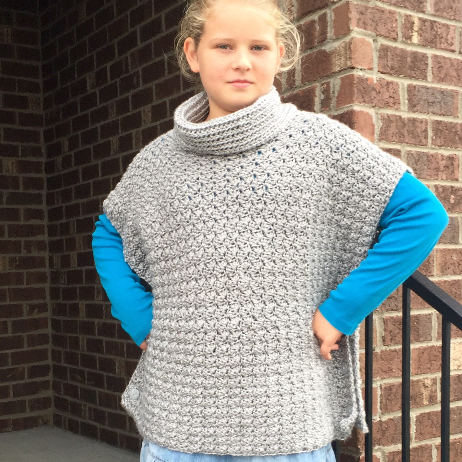 Knitting Pattern For Childs Poncho Crochet Pattern Fiona Poncho With Cowl For Babies Girls Teen Women