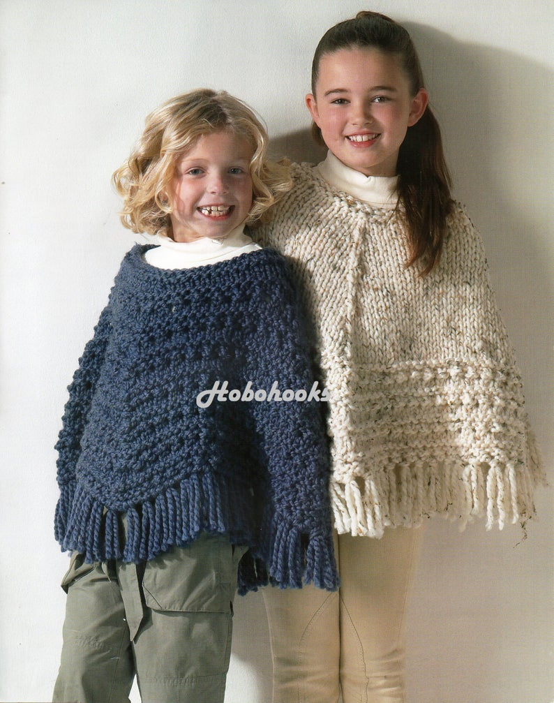 Knitting Pattern For Childs Poncho Girls Knitting Pattern Girls Ponchos Knitting Pattern Super Chunky Ponchos Childrens Poncho 24 30inch Super Chunky Yarn Pdf Instant Download