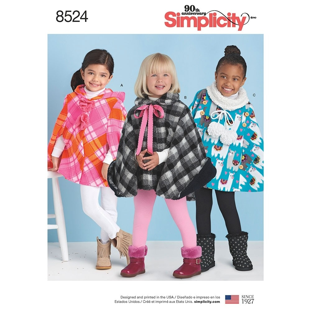 Knitting Pattern For Childs Poncho Girls Poncho Simplicity Sewing Pattern 8524 Size S L