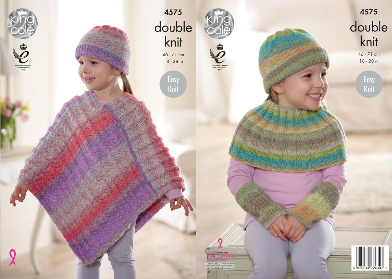Knitting Pattern For Childs Poncho King Cole 4575 Knitting Pattern Girls Poncho Shoulder Warmer Hat And Wristwarmers In Sprite Dk