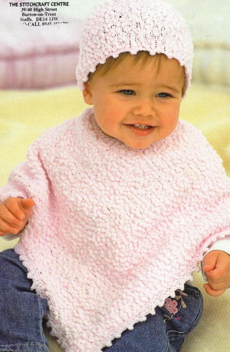 Knitting Pattern For Childs Poncho Pdf Digital Vintage Crochet Pattern Ba Toddler Childrens Poncho And Hat Chest 16 26 Double Knit