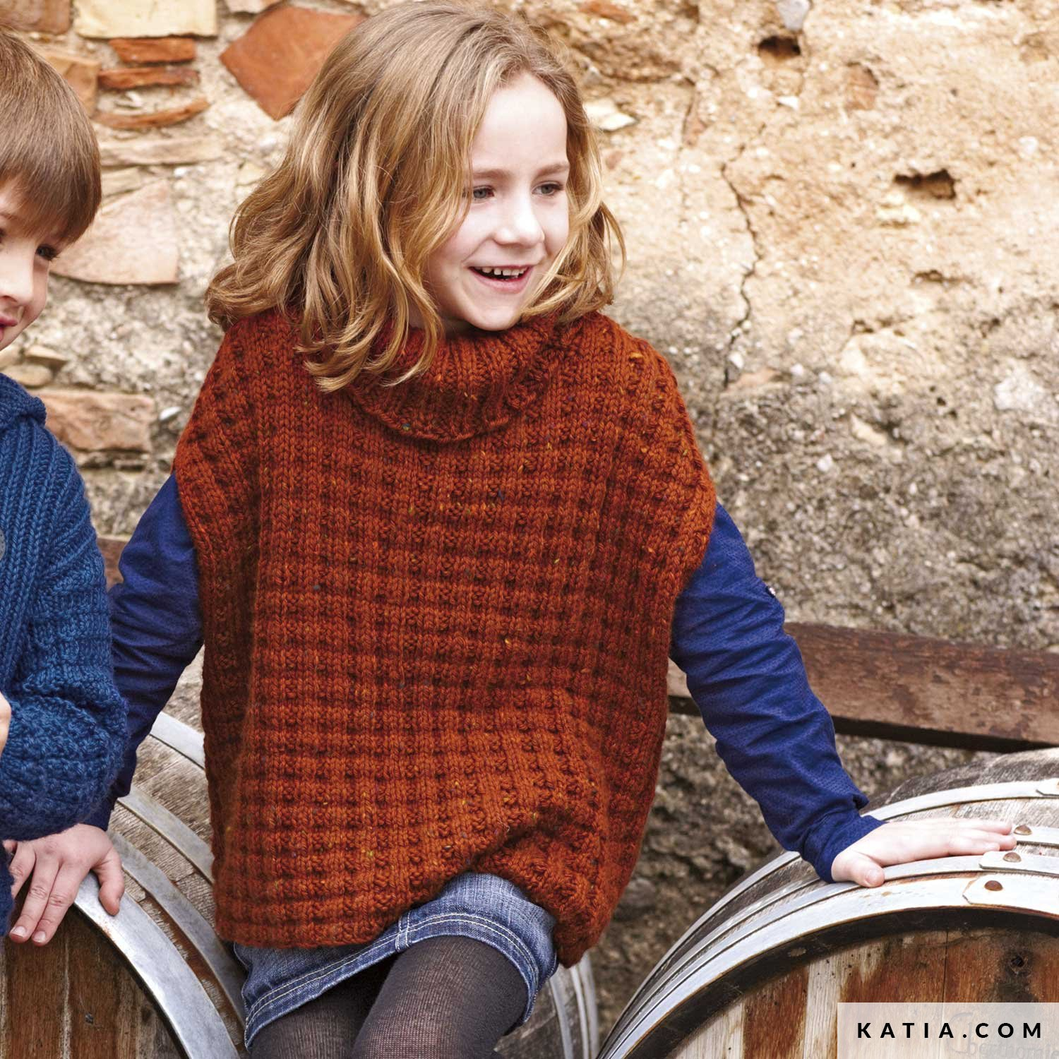 Knitting Pattern For Childs Poncho Poncho Kids Autumn Winter Models Patterns Katia