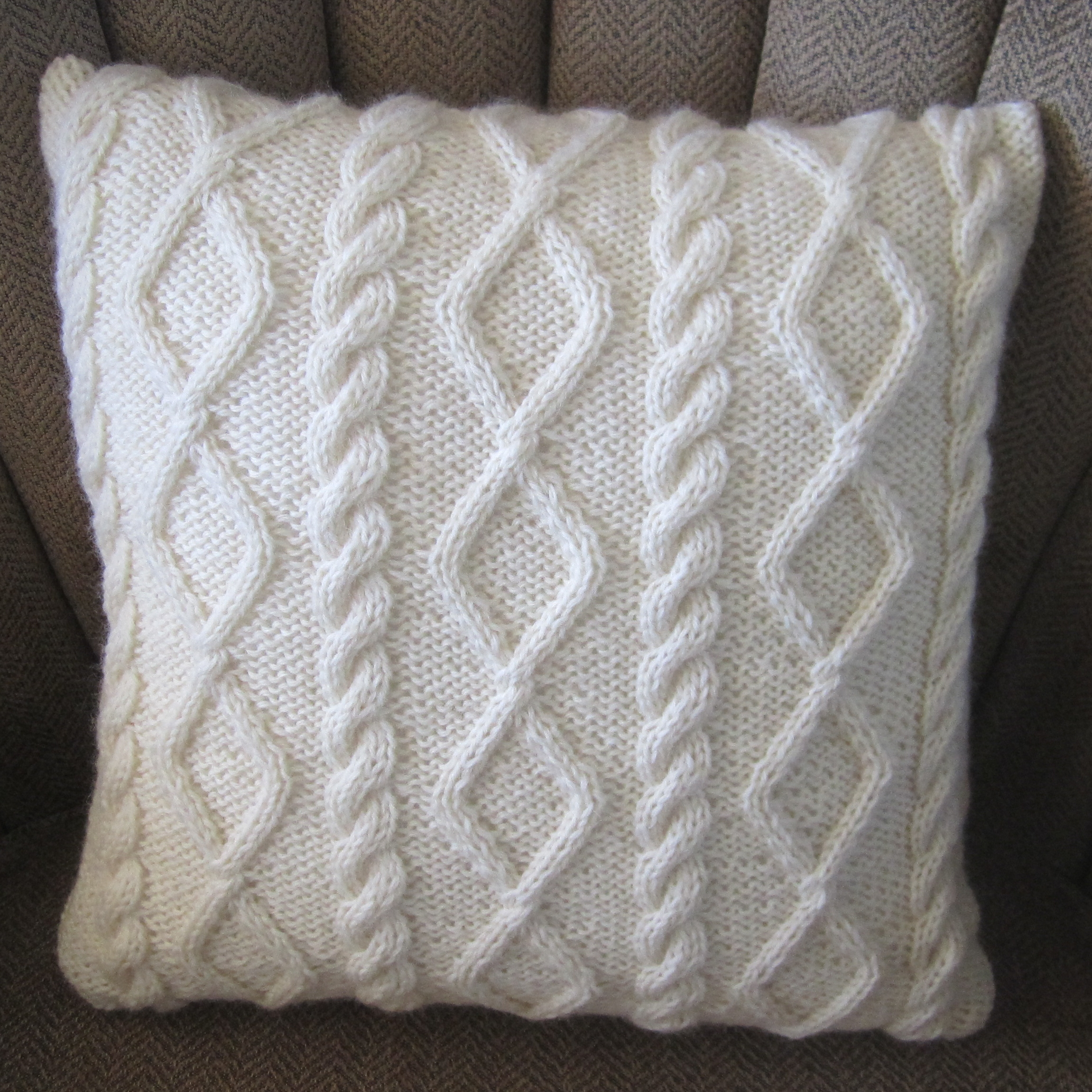 Knitting Pattern For Cushion Cover With Cables Diamonds And Cable 1640cm Cushion Cover Pdf Knitting Pattern