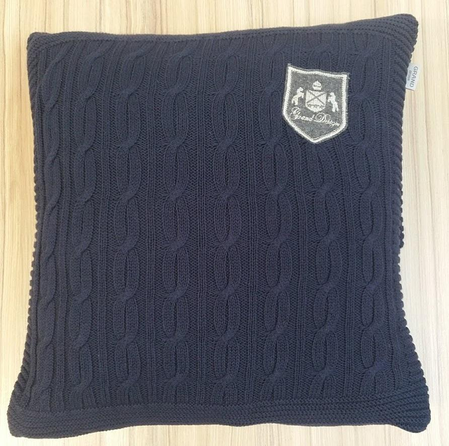 Knitting Pattern For Cushion Cover With Cables Grand Design Cable Knitted Cushion Cover Navy 48 X 48 Cm