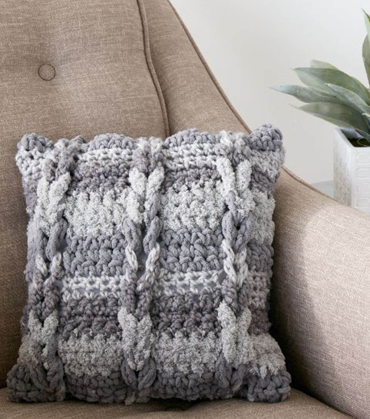 Knitting Pattern For Cushion Cover With Cables How To Crochet A Cable Pillow Joann