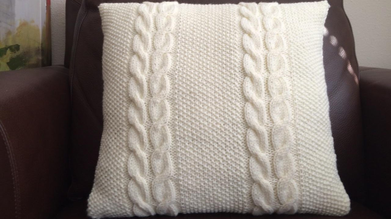 Knitting Pattern For Cushion Cover With Cables How To Knit A Cable And Seed Stitch Pillow Lilus Handmade Corner Video 59