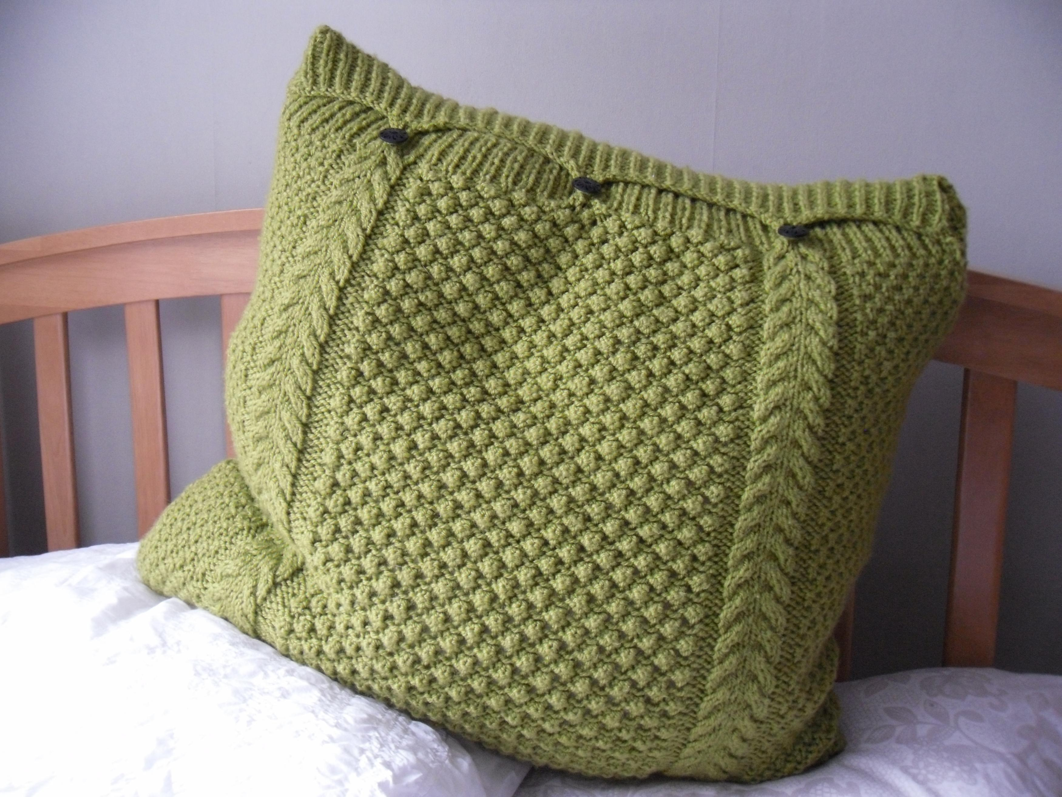 Knitting Pattern For Cushion Cover With Cables Large Lime Green Pillow Cushion Cover Hand Knitted Cable Bobbles 3 Button Fastening
