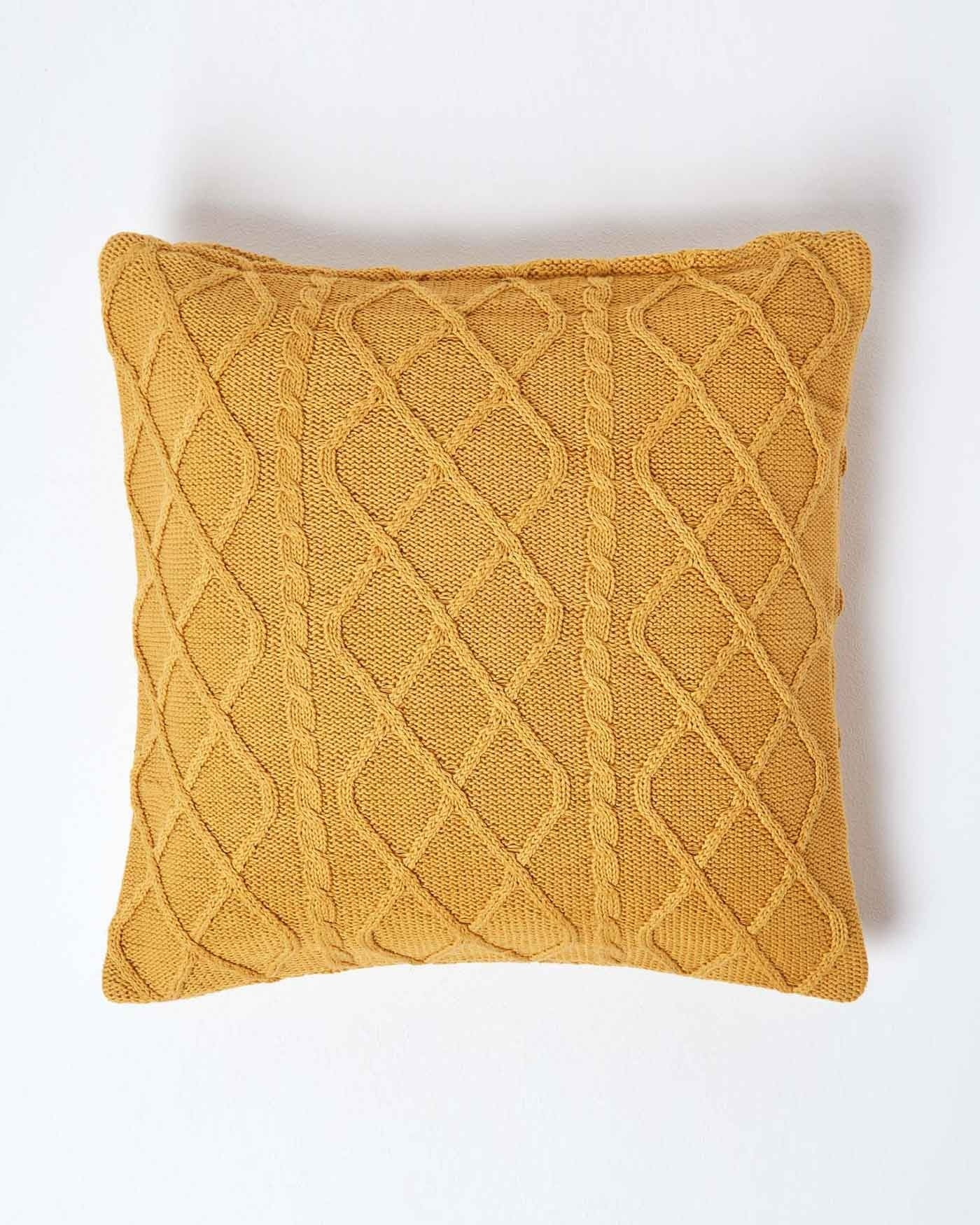 Knitting Pattern For Cushion Cover With Cables Mustard Diamond Cable Knit Cushion Cover 45 X 45 Cm