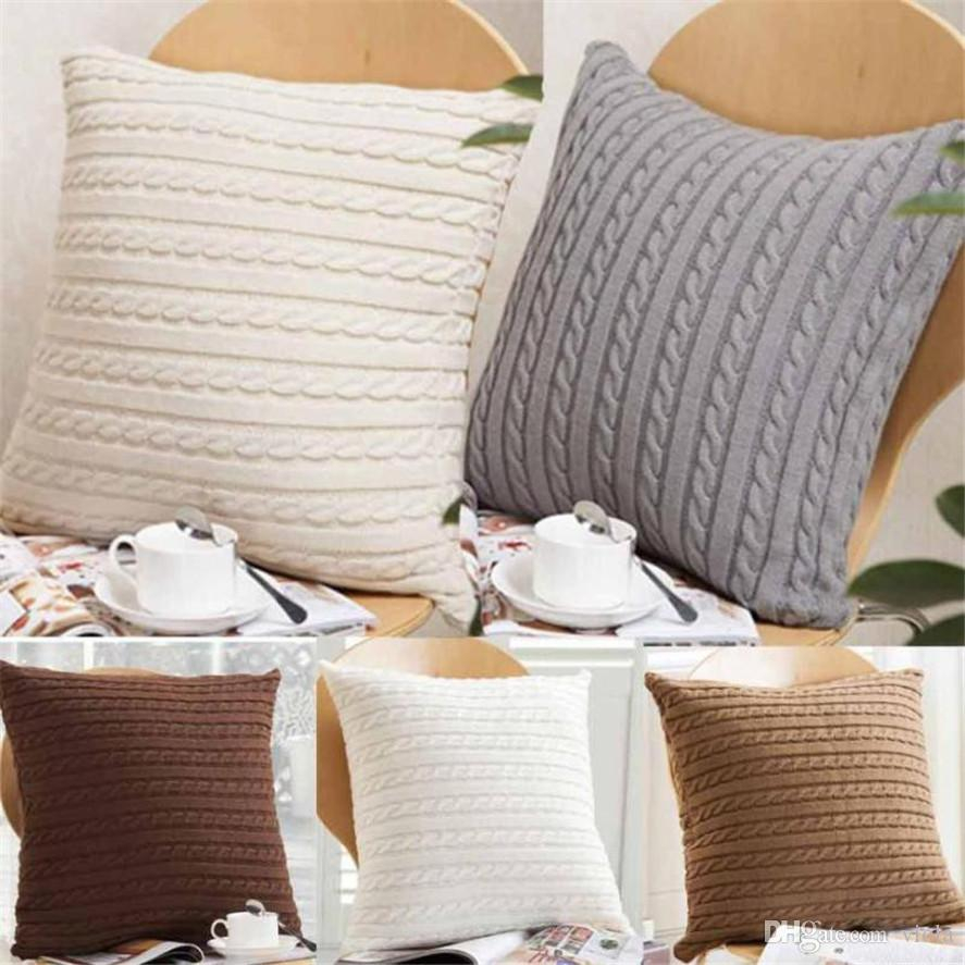 Knitting Pattern For Cushion Cover With Cables New 17 Colors Pillow Cover Button Knitted Twist Decorative Cable Knitting Patterns Cushion Cover Square Pillow Case 45x45cm Xstmas Gift