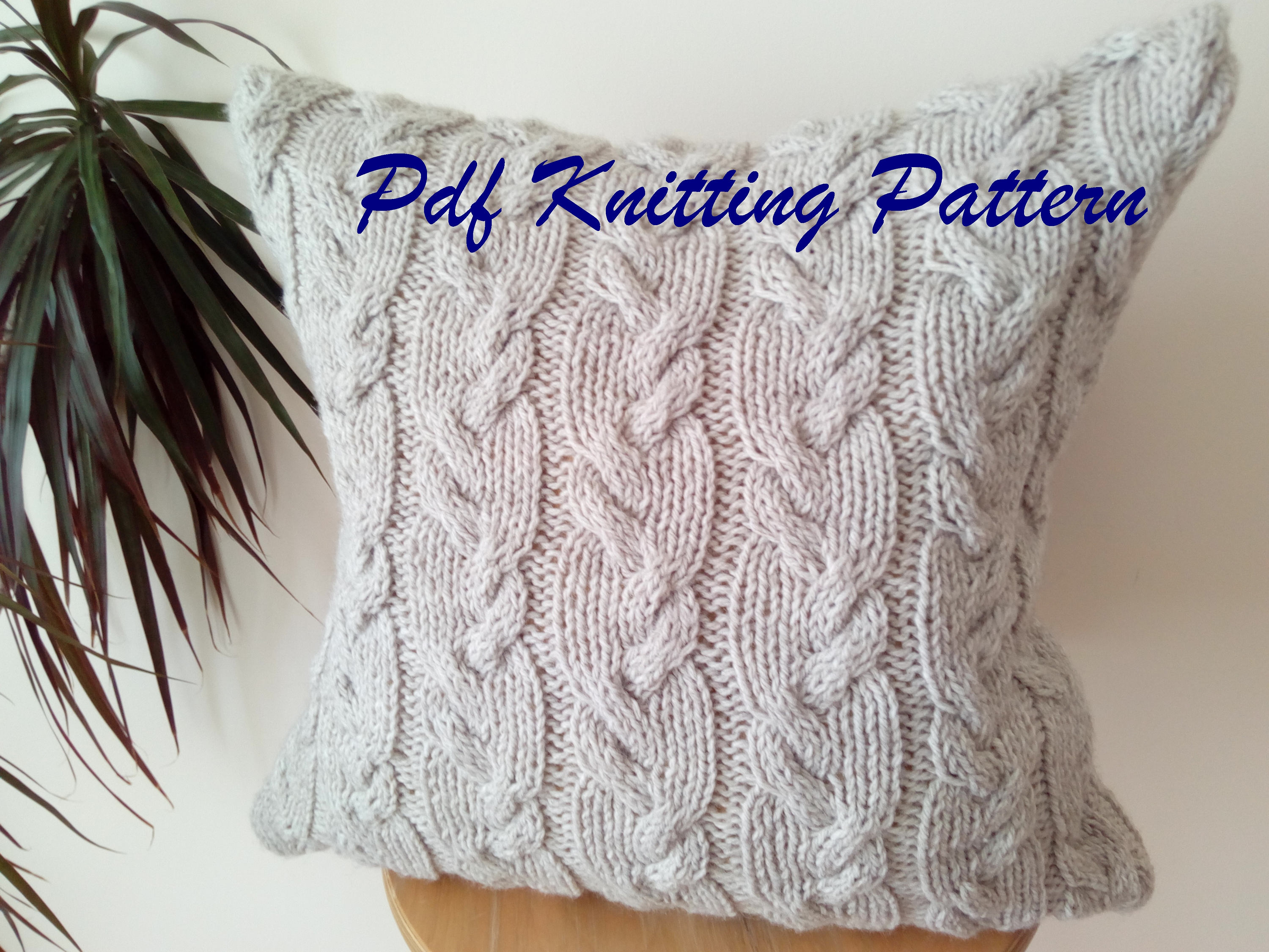 Knitting Pattern For Cushion Cover With Cables Pdf Knitting Pattern Cable Knit Aran Pillow Cushion Cover Wavy Cables 18 X 18 Button