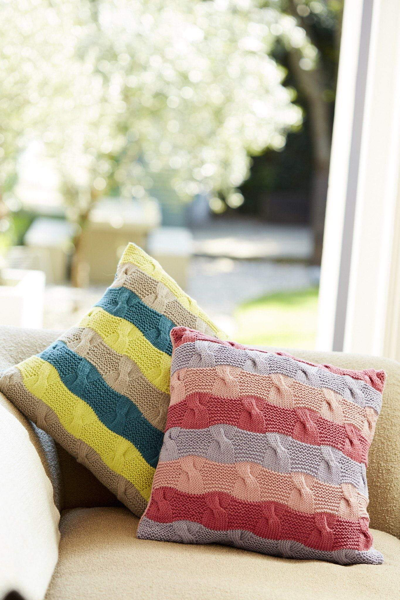 Knitting Pattern For Cushion Cover With Cables Striped Cushions Knitting Patterns