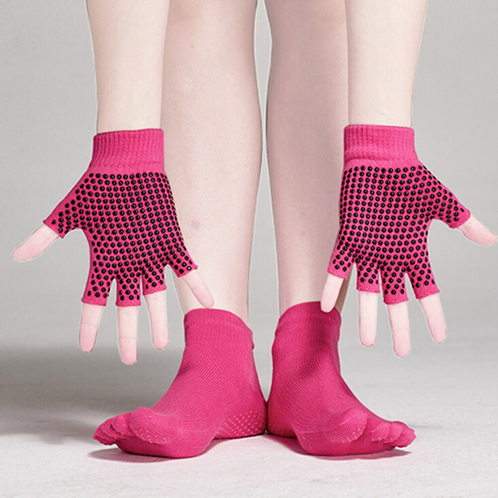 Knitting Pattern For Yoga Socks Us 741 47 Offmuseya Yoga Socks And Gloves Set Non Slip Grip With Silicone Dots Mittens In Womens Gloves From Apparel Accessories On