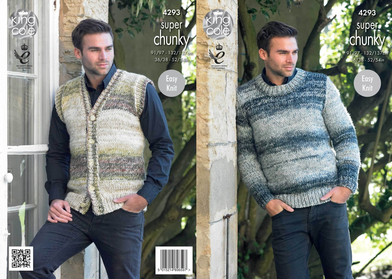Knitting Pattern Mens Cardigan King Cole 4293 Knitting Pattern Mens Waistcoat Round Neck Sweater In Big Value Super Chunky Tints