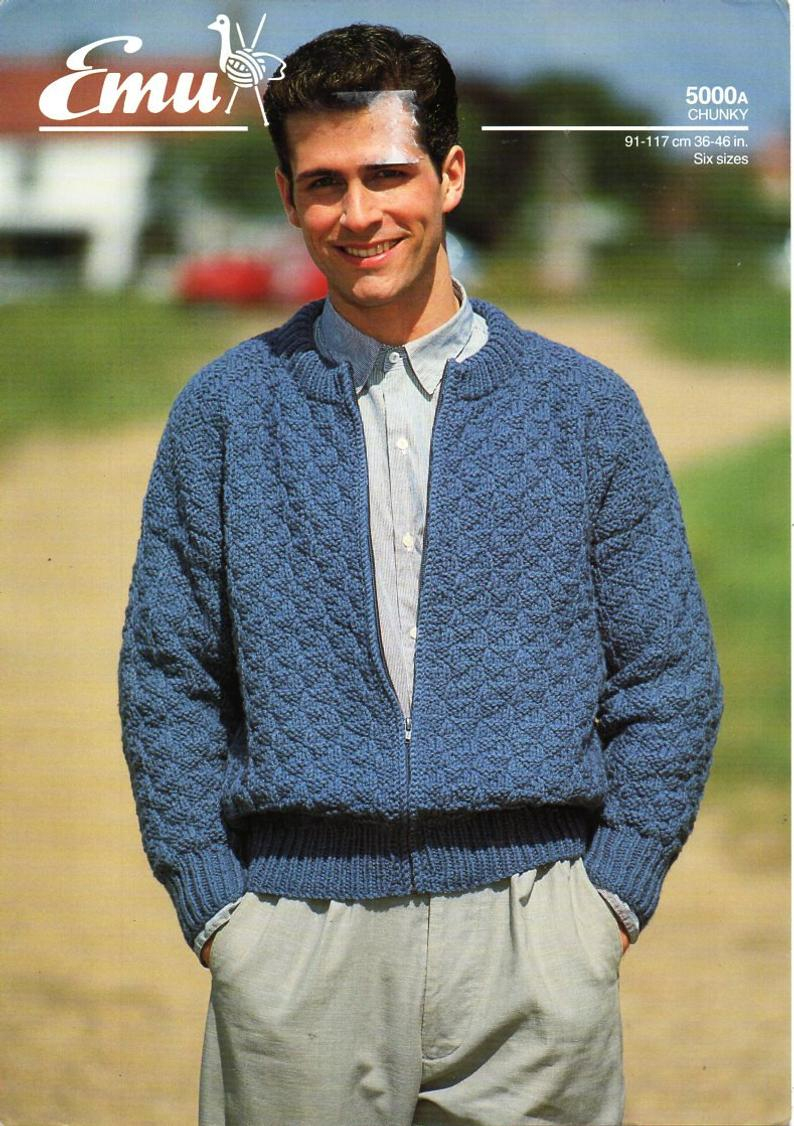 Knitting Pattern Mens Cardigan Mens Zipper Jacket Knitting Pattern Pdf Chunky Cardigan With Zip Bomber Jacket Vintage 36 46 Inch Chunky Bulky 12ply Instant Download