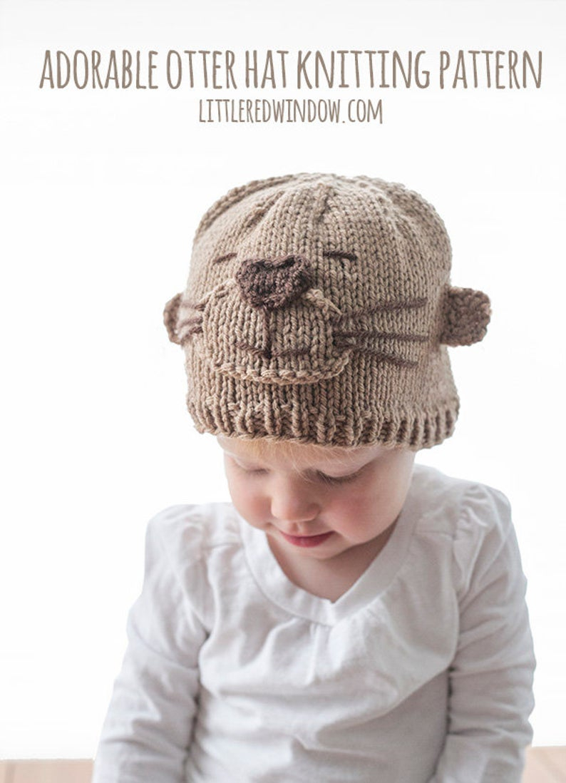 Knitting Patterns Baby Hat Adorable Otter Hat Knitting Pattern Otter Pattern Sea Otter Nautical Nursery Sea Otter Pattern Ba Otter Hat Newborn Photo Prop