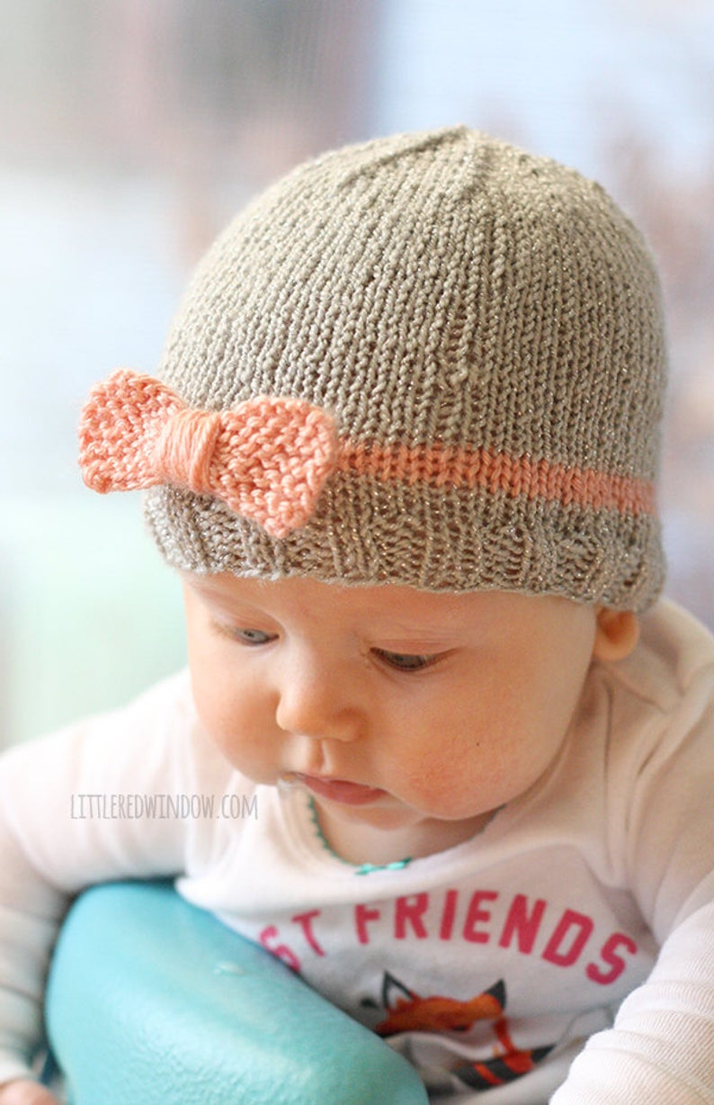 Knitting Patterns Baby Hat Ba Bow Hat Knitting Pattern Knitting Pattern For Newborn Girl Hat With Bow Ba Girl Bow Hat Pattern