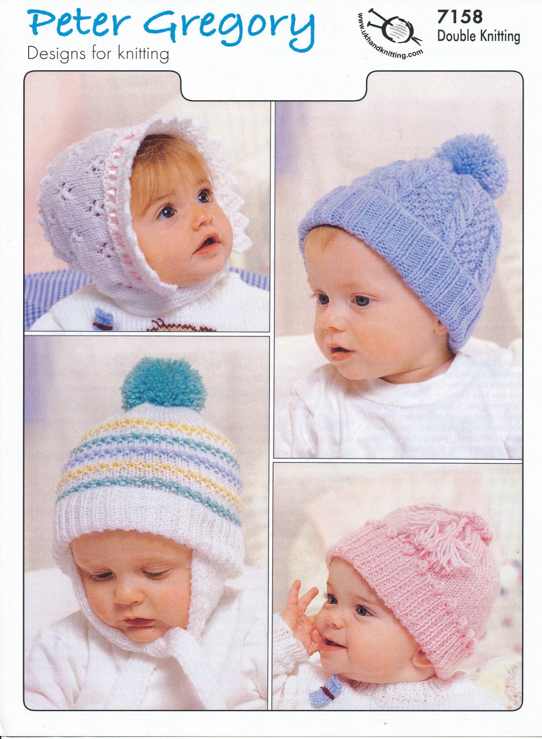 Knitting Patterns Baby Hat Details About Ba Double Knitting Pattern Ba Accessories Hats Bonnets Peter Gregory Dk 7158