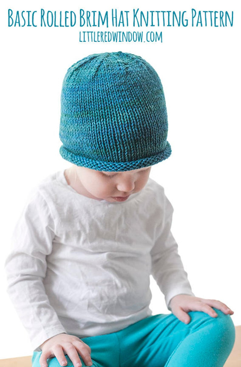 Knitting Patterns Baby Hat Easy Rolled Brim Ba Hat Knitting Pattern Brimmed Hat Pattern Easy Ba Hat Easy Beanie Pattern Ba Hat Pattern Knit Hat Pattern