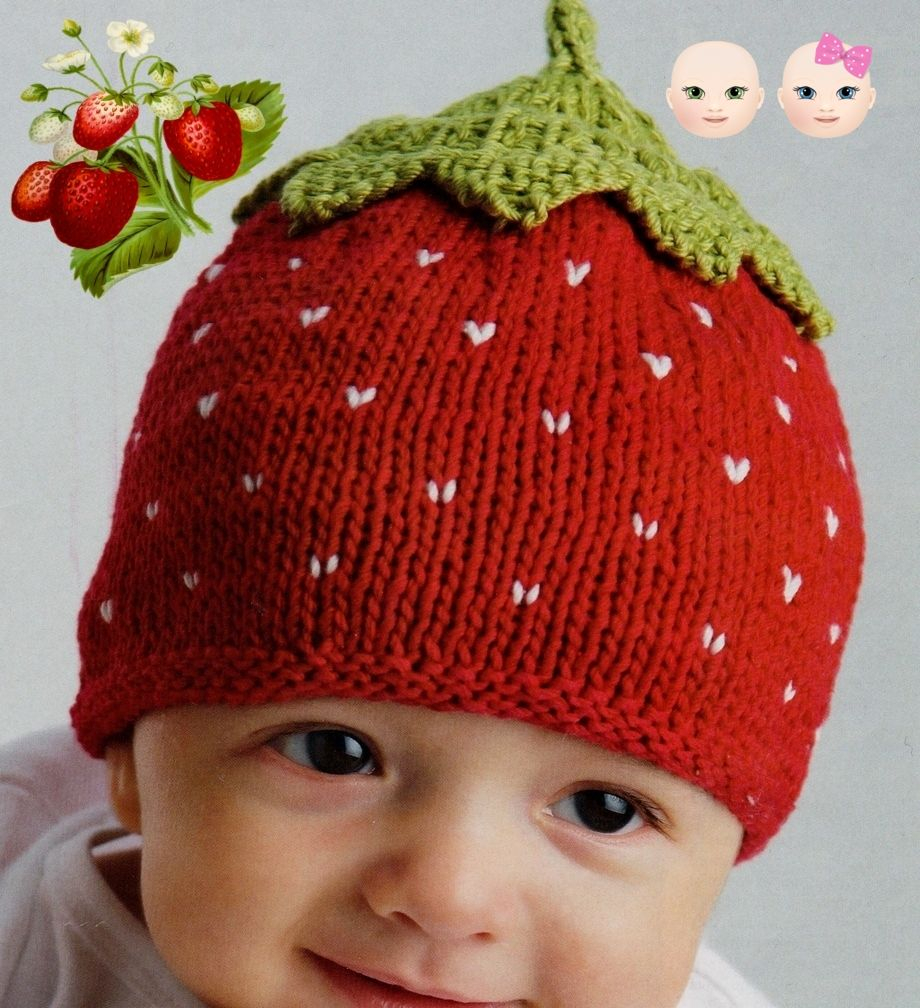 Knitting Patterns Baby Hat Pdf Digital Download Vintage Knitting Pattern To Make A Strawbweey Ba Hat Birth To 6 Months