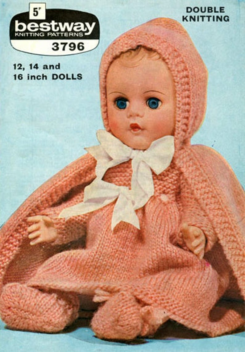 Knitting Patterns For Baby Dolls Clothes Pdf Knitting Pattern Pretty Ba Dolls Clothes Set To Fit Dolls Of 12 14 16 Including Cape