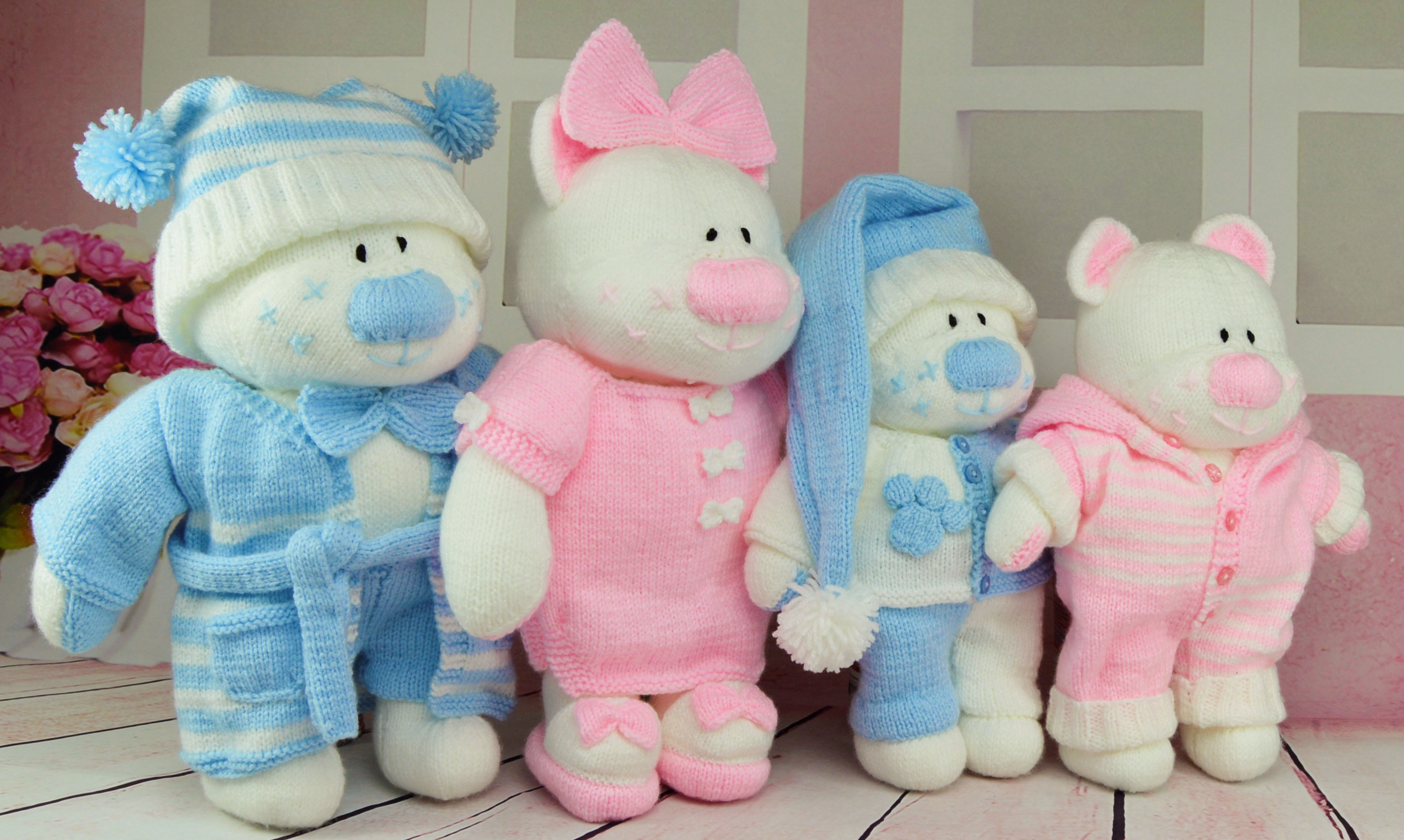 Knitting Patterns For Baby Toys Beau Belle Boo And Bess Sleepy Time Booklet