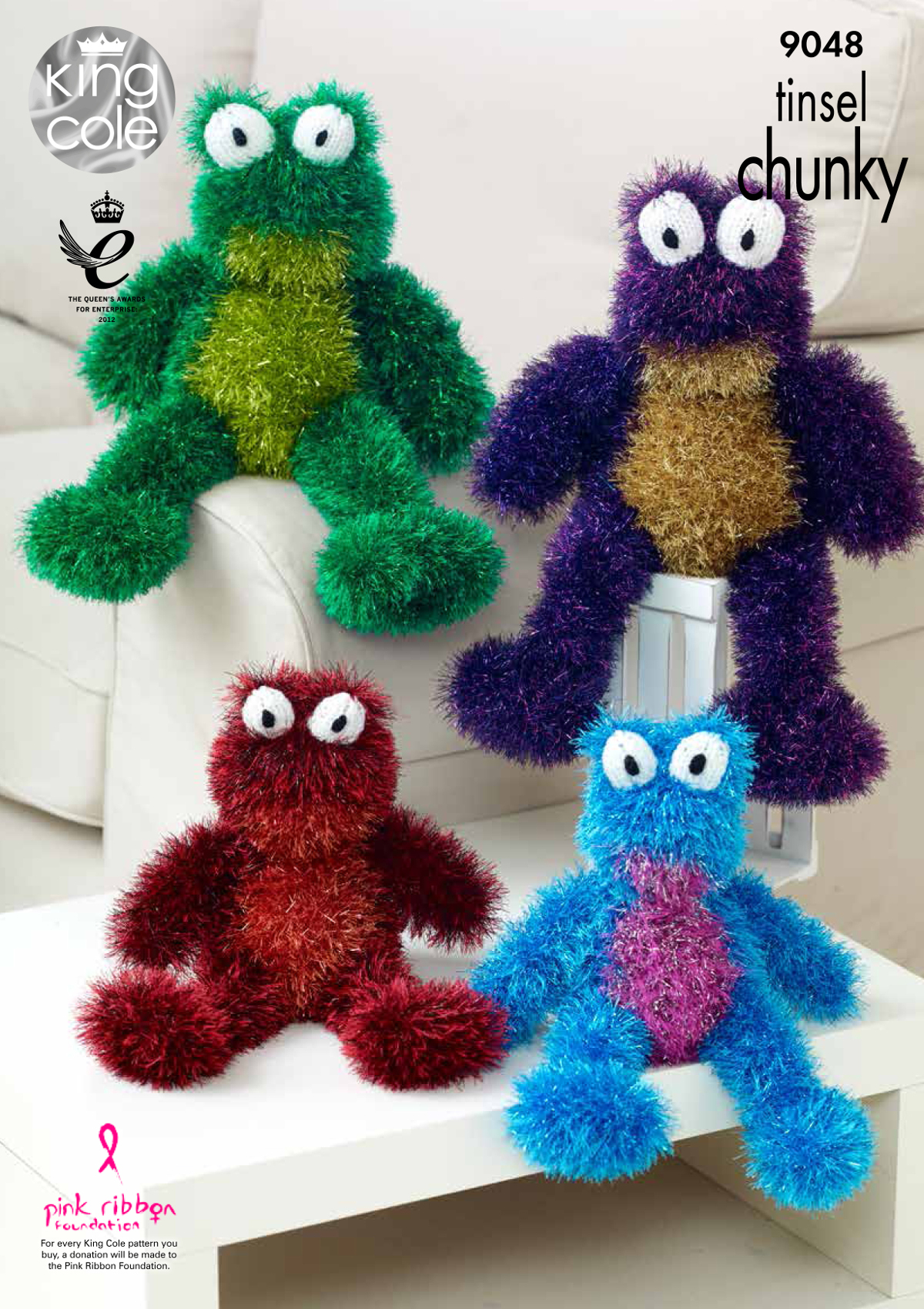 Knitting Patterns For Baby Toys Details About Tinsel Chunky Knitting Pattern Small Or Large Frog Animal Toy King Cole 9048